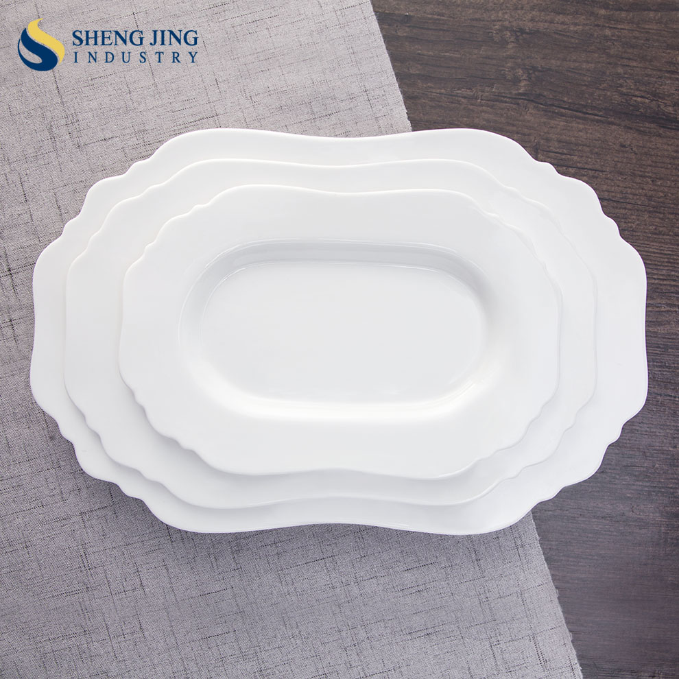 Oval Shape Tableware Hotel Crockery Custom Design Plates & Dining Tableware Plain White Ceramic Flower Shaped Plates-Guangdong ...